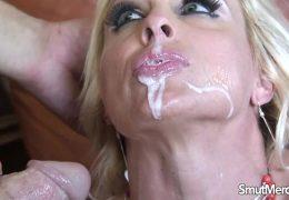 Blonde pornstar fucks and eats cum